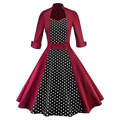 GallityClearance Womens Retro 1960'S Half Sleeve Dot Christmas Flare Swing Dress Stitching Swing Dress (2XL, Red) -