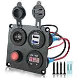 Iztor Dual 3.1A USB Charger + Digital red Voltmeter + 12V Power Socket Outlet + ON-Off Button Switch 4 Hole Aluminum Panel for Car Boat Marine Truck RV ATV Vehicles GPS Mobile Phone