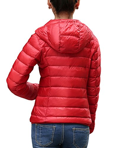 Red ab Chick Cherry Flame Piumino Cappotto Corto Incappucciato Donna Impacchettabile 1q8w6
