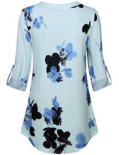 Lotusmile Casual Long Sleeve Tops for Women,Floral Print Pleated V Neck Plus Size 3/4 Cuff Sleeve Causal Blouse Tops for Work Tunic Shirt,Light Blue L by Lotusmile (Image #2)