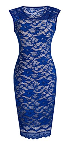 HOMEYEE Women's Floral Lace Cocktail Party Sheath Dress S09 (8, Blue)