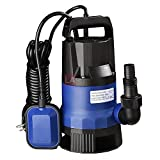 1HP 3432GPH 750W Submersible Dirty Clean Water Pump Swimming Pool Pond Heavy Duty Water Transfer w/ Float Switch for Pool Spa Fountains