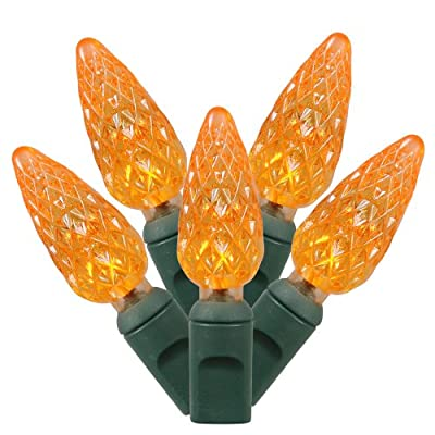 "Vickerman X6G8508 50LT LED Set C6 EC Set String Lights with Grey Wire, 6"" x 25', Orange"