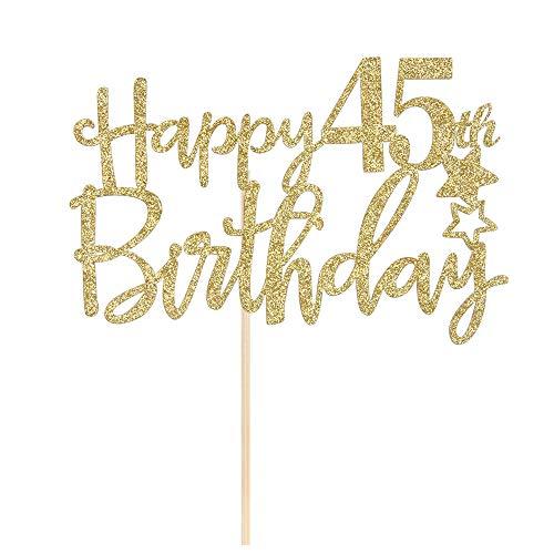 Gold Glitter Happy 45th Birthday Cake Topper,Hello 45,