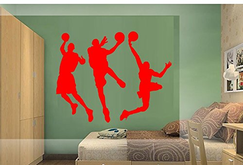 Amaonm 31.5 x 53.1 Removable DIY Vinyl Three Basketball Players Slam Dunk Silhouette Wall Decals Spoting Basketball Duck Layup Sporter Wall Sticker Kids room Boys Bedroom Classroom (Red)