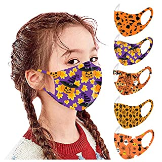 5 PC Halloween Reusable Vintage Unisex Adult Face Bandanas Washable Breathable Cotton