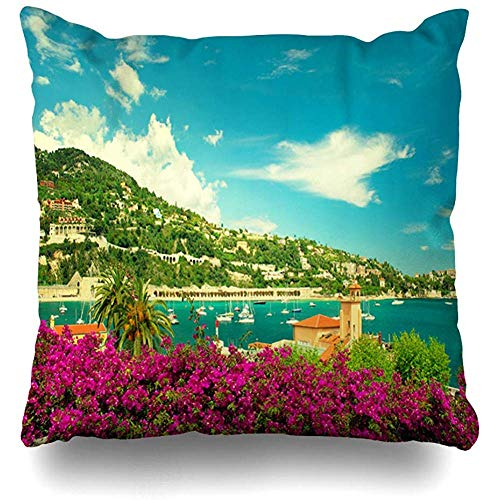 Throw Pillow Cover Square 18x18 Monaco Blue Nice French Flower Coast View Small Boats City Nature Parks Riviera Villefranche Beach France Zippered Cushion Case Home Decor Covers ()