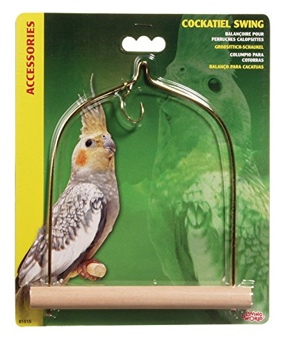 Wooden Bird Swing (Living World Cockatiel Swing with Wooden Perch, 5 1/2-Inch by 7-Inch)