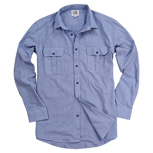 Urban Boundaries Men's Long Sleeve 100% Cotton Brushed Chambray Shirt (Light Blue, Modern Fit: Large) (Shirts Cotton Work)