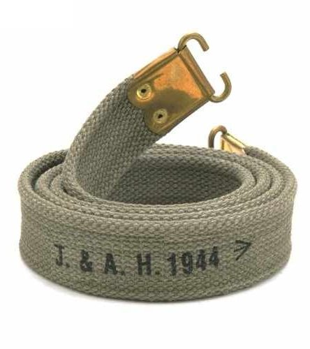 Ultimate Arms Gear British Lee Enfield Rifle OD Olive Drab Green WWI WWII Cotton Slings with Brass Fitings and Markings
