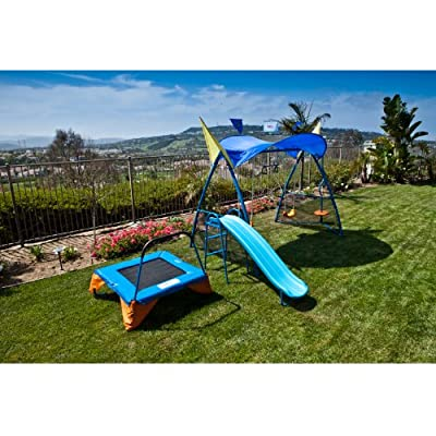 8103 IronKids Premier 300 Metal Swing Set Trampoline with Spinner and UV Protective Sunshade