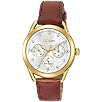 Citizen Eco-Drive FD2052-07A 38mm Women's Crystals Brown Leather Strap Watch - Manufacturer Refurbished