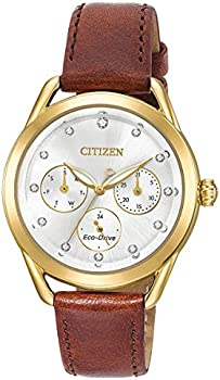 Refurb Citizen Eco-Drive 38mm Women's Crystals Brown Leather Strap Watch