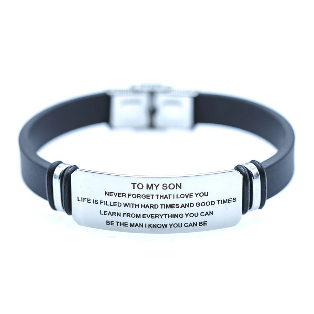 DEO JEWELRY To My Son Engraving Surgical Steel Never Forget That I Love You Inspiration Family Bracelet by DEO JEWELRY (Image #1)