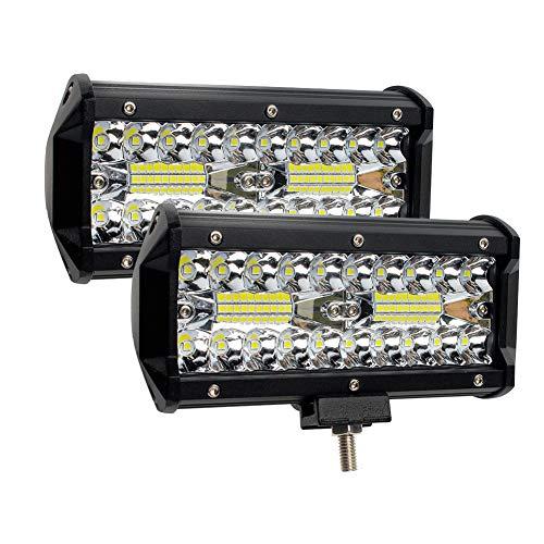 Led Light Bars 240W, GES 2Pcs 6.5Inch 24000lm [ Aluminum Alloy Die-casting Shell ] Led Flood Spotlight Off Road Lights Super Bright Fog/LED Pod Lights/Work Lights for SUV Jeep Trucks ATV Cars