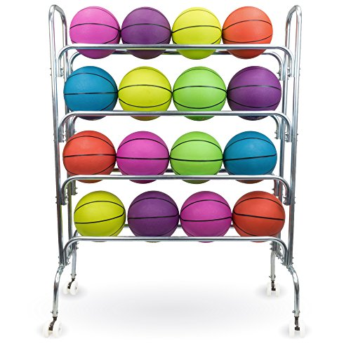 "4 Tier Ball Cart - 53"" Steel Sports Ball Rack with Caster Wheels, Holds 16 Basketballs by Crown Sporting Goods from Crown Sporting Goods"