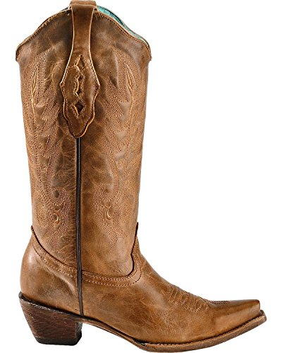 Corral Womens Vintage Lederen Cowgirl Laars Knip Teen Kleur