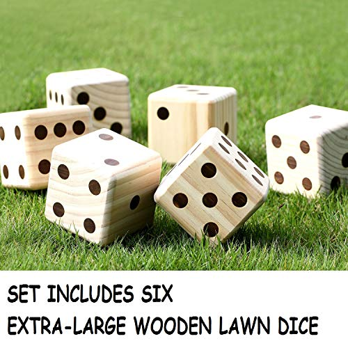 Includes Carry Bag and Rules JST GAMEZ Giant Wooden Yard Dice Set of 6 Outdoor Games for Adults and Family Lawn Games