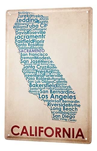 Tin Sign World Trip Map of California Decorative Wall Plate 8X12
