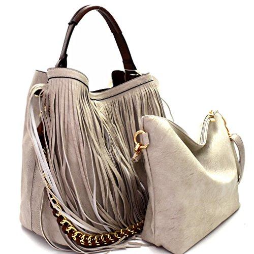 Fringe Gray Crossbody Republic Strap Light Handbag Double Hobo Bag w inner vtRSp