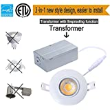 TSCDY 8W Directional Adjustable Downlight Led IC Rated 3-Inch 2700K Dimmable Recessed Lighting with ETL-Listed and Energy Star Qualified Pack of 1  sc 1 st  Amazon.com & Amazon.com: 3 Inch - Housing u0026 Trim Kits / Recessed Lighting ... azcodes.com