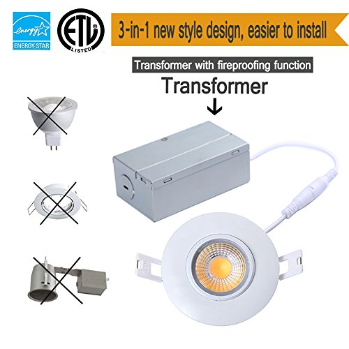 TSCDY 8W Directional Adjustable Downlight Led IC Rated 3-Inch 2700K Dimmable Recessed Lighting with ETL-Listed and Energy Star Qualified Pack of 1 (3 Recessed Inch Rated Ic Lighting)