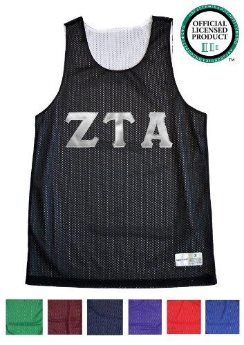 ZETA TAU ALPHA Unisex Mesh ZTA Tank Top. White Sewn Letters, Various Colors