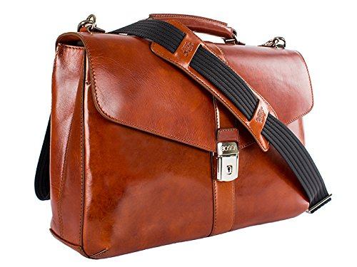 [Bosca Old Leather Single Gusset Flapover Brief (One size, Amber)] (Bosca Bag)
