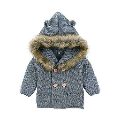 Baby Boy Sweater Cardigan Newborn Girl Jacket Knitted Long Sleeve Christmas Hooed Winter Clothes(0-6M,Grey)