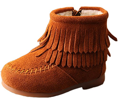 VECJUNIA Girls Suede Fringe Tassel Boots Outdoor Non-Slip Zipper Oxford Ankle Boot Toddler//Little Kid