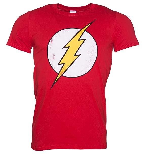 3badc860c21 Mens Distressed DC Comics Flash Logo T Shirt Red  Amazon.ca ...