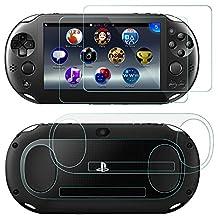 Protector de Pantalla para Sony PlayStation Vita 2000 con Espalda Protector, AFUNTA 2 Pack (4 piezas) de Vidrio Templado para Pantalla Frontal y Película PET transparente para la Espalda, PS Vita PSV 2000 Vita Slim Accesorios