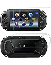 Screen Protectors for Sony Playstation Vita 2000 with Back Covers, AFUNTA 2 Pack (4 Pcs) Tempered Glass for Front Screen and HD Clear PET Film for The Back, PS Vita PSV 2000 Film Accessory