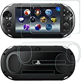 AFUNTA Screen Protectors Compatible Sony Playstation Vita 2000 with Back Covers, 2 Pack (4 Pcs) Tempered Glass for Front Screen and HD Clear PET Film Compatible The Back, PS Vita PSV 2000