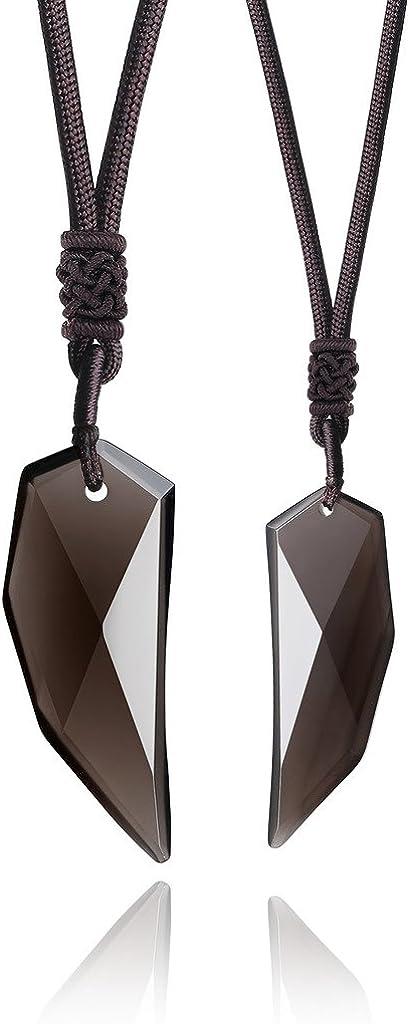 COAI® Obsidiana Natural de Hielo Collar Pendiente del Amuleto de Espiga Joyería de Pareja de Él y de Ella