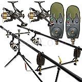 Complete Carp fishing Set Up 2 Rod & Reel Carp Full Alarms pod FREE GIFT