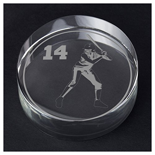 ChalkTalkSPORTS Softball Personalized Crystal Award and Gift | Batter Silhouette with Custom Number