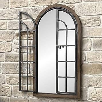 Chemindecampagne Grand Miroir Fenêtre Volet Bois Et Fer Métal 150