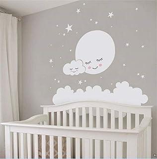 Vinilo para bebé - Luna llena con estrellas. Luna blanca - T0 ...