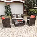 G 4-Piece Rattan Patio Furniture Set Garden Lawn Pool Backyard Outdoor Sofa Wicker Conversation Set with Weather Resistant Cushions