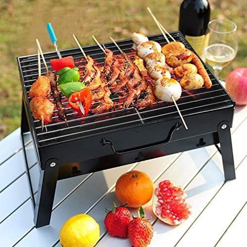 Uten Barbecue Portable Petit Barbecue à Charbon de Table Domestique Pliable avec 2 Barbecue Grille INOX Barbecue Extérieur/Camping/Piquenique