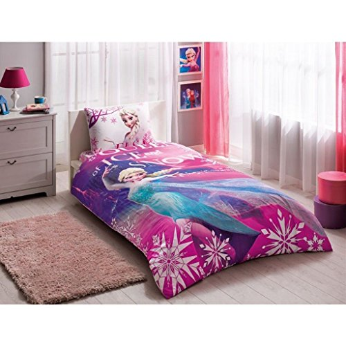 Disney Frozen Elsa 3 Pcs Twin / Single Size %100 Cotton Duvet Cover Set Bedding Linens