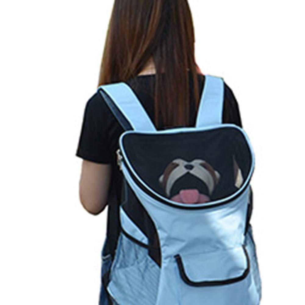 bluee L bluee L FELICIOO Pet Backpack Travel Portable Backpack Chest Bag Back Dog Bag Cat Dog Out Pet Bag (color   bluee, Size   L)
