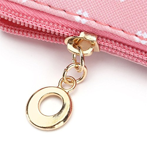 Makeup Bag 5 Cute Travel Pouch Cosmetic Leather Wristlet Small Coin Owl Faux ZHOUBA Cartoon 5 Holder 6afBqx4wP8