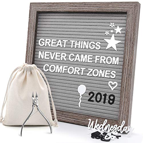 Felt Letter Board, AHNR 10x10 Inches Changeable Message Board with 824 Letters, Free Nail File, Wall Hook, Canvas Bag & Gift Box - Boards Photographs Message