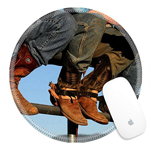 - Luxlady Round Gaming Mousepad Well worn boots adorn the wranglers at rodeo in small county fair Idaho IMAGE ID 3416134