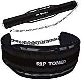 """Rip Toned Dip Belt with Chain - 36"""" Heavy Duty Steel Chain - for Weightlifting Pull Ups, Dips, Powerlifting, Xfit, Bodybuilding, Strength Training - Add More Weight While Lifting for Men & Women"""