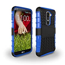 LG G2 Case [iCoverCase] Heavy Duty Armor Hybrid [Dual Layer] KIickstand Back Holster Shockproof Cover Protecive Case for LG G2 ( D800,D802,D801,D802TA,D803,VS980,LS980 ) (Blue)