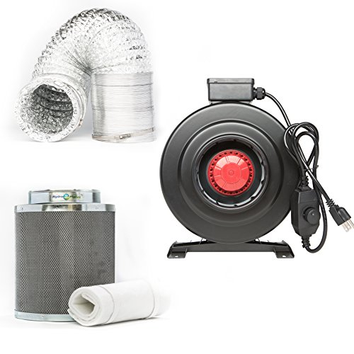 HydroplanetTM 4-inch CFM 210 Inline Fan Built-in Speed Controller Carbon Air Filter and 25-feet Ducting Combo Kit (4-inch kit) ()