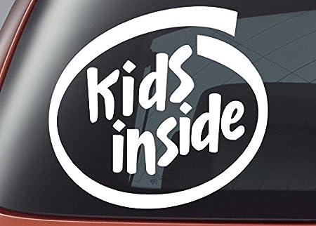 Kids inside vinyl decal car window sticker bumper sticker